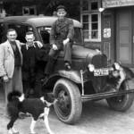 Ankunft einer Getränkelieferung beim Gasthaus Hachmeister ca. 1948